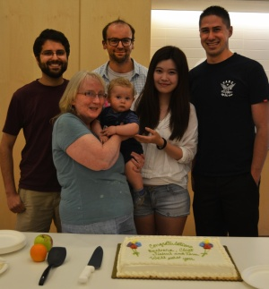 Farewell party for Tom, Al, Clint, Barbara (holding baby Mario), and Jiahui.